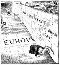 winston churchill united states of europe | Politcal Cartoon depicting Winston Churchill trying to get a peek at ...
