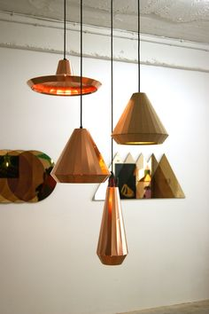 Key Trends From 2013 London Design Festival - At the TENT London exhibition in east London, Dutch Designer David Derksen exhibited a collection of multi-faceted Copper Lights made from etched and folded copper sheets.