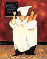 Chubby chef and wine art
