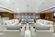Seating area aboard M/Y Maybe ©Marcelo Penna Yacht Design Interior Design Guide, Interior Decorating, Made To Measure Furniture, Yacht Builders, Yacht Interior, Yacht Design, Furniture Manufacturers, Decoration, Furniture Design