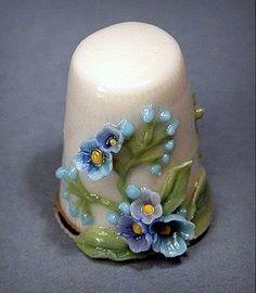 decorative blue flowered thimble