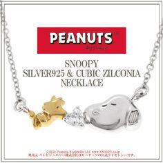Snoopy Woodstock Zirconia Silver Necklace