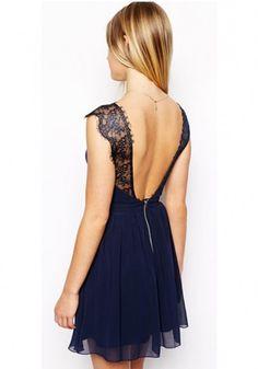 Blue Plain Lace Zipper Sleeveless Chiffon Mini Dress