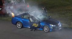 2014 Chevy SS Pace Car Catches Fire During NASCAR Sprint Unlimited Race At Daytona: Video