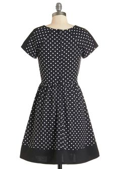 Postcard Haste Dress. Within moments of arriving at your destination, you spin this dotted dress toward the local post office to write home. #black #modcloth