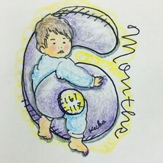 【Around midnight】Osuke is 6 months old! #baby #drawing #illustration #6months #赤ちゃん #おえかき #イラスト #6ヶ月 #新米ママ