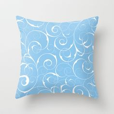 White swirls on Blue Throw Pillow by EML - CircusValley - $20.00
