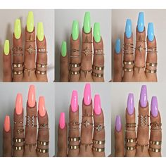 There are three kinds of fake nails which all come from the family of plastics. Acrylic nails are a liquid and powder mix. They are mixed in front of you and then they are brushed onto your nails and shaped. These nails are air dried. Neon Nails, Matte Nails, My Nails, Bright Nails Neon, Bright Summer Acrylic Nails, Best Acrylic Nails, Acrylic Summer Nails Coffin, Summer Toenails, Bright Summer Gel Nails