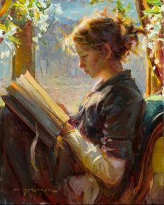 Daniel Gerhartz painting of a girl reading - would be beautiful in a library Reading Art, Woman Reading, Reading Books, Reading Time, Art Et Illustration, Illustrations, Art Gallery, Painting Gallery, Classical Art