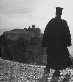 Civil War/Greece An Orthodox priest looking toward the monestary.Location:Louzesti, Greece Date taken:December 1947 Photographer:John Phillips Open Shutters, Orthodox Priest, Ancient Names, Alfred Stieglitz, Great Photographers, In Ancient Times, Back In The Day, Past, Island
