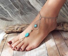 Peace Catcher Bohemian Silver Turquoise Tear Dreamcatcher Slave Anklet  Hippie  Tribal   Native American Inspired