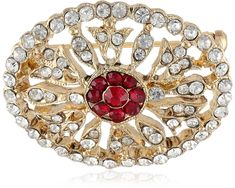 """""""Jeweled Heirlooms Boxed"""" Gold-Tone Crystal Edwardian Pave Ruby Stones Oval Pin - CB11FM4JYWL - Brooches & Pins  #jewellrix #Brooches #Pins #jewelry #fashionstyle"""