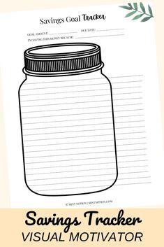 Savings tracker jar printable. Included in the Budget Planner to help you track your savings goals, organize your finances and get your money under control. Budget Binder, Budget Planner, Life On A Budget, Debt Free Living, Paying Off Student Loans, Create A Budget, Frugal Living Tips, Saving Money, Budgeting