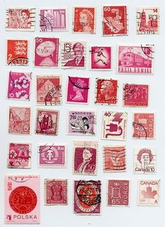 Pink and red postage stamps via Etsy. #SayLove