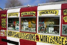 The World's Largest Collection of the World's Smallest Versions of the World's Largest Things is a traveling roadside attraction and museum. Artist Erika Nelson displays the collection inside a converted bus. There, she boasts miniature replicas of everything from massive balls of twine, to gigantic animals, and more. Nelson believes her humble, mobile collection helps increase tourism, and marketing and economic development in various cities.