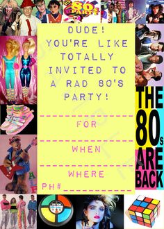 Blank 80'S Costume Party Invitations Instant Download Printable Birthday $3.00