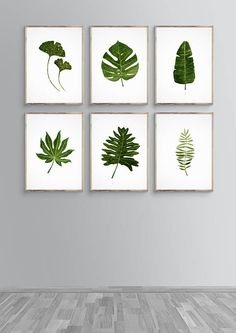 Green Leaf Painting, Tropic Watercolor, Monstera Tropical, Banana Tropical Art, Wall Art Set G Watercolor Plants, Green Watercolor, Watercolor Leaves, Watercolor Artists, Watercolor Painting, Plant Painting, Plant Art, House Painting, Painting Art