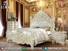 Tempat Tidur Mewah Putih Duco New Design Luxury Carving Jepara BT-0825