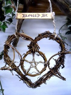 Pagan Witch Kitchen Triple Moon Goddess Rustic triple moon vine heart