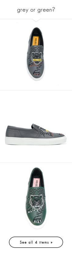 """""""grey or green?"""" by jofrebcn ❤ liked on Polyvore featuring shoes, sneakers, espadrilles sneakers, grey slip on sneakers, leather sneakers, gray slip on sneakers, leather shoes, grey, leather slip-on shoes and slip on sneakers"""