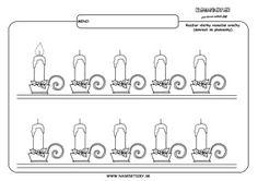 Vianoce a sviečky - grafomotorika - pracovné listy pre deti