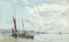 Arthur Gerald Ackermann, R. Watercolor Pictures, Watercolor Artists, Artist Painting, Sea Art, Sketches, Watercolors, Drawings, Illustration, Boats