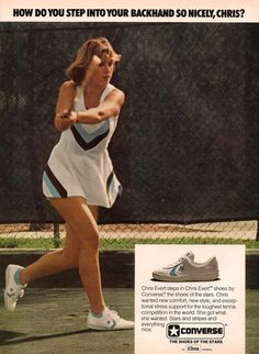 Chris Evert shoes by Converse - Click Americana Converse Basketball Shoes, Converse All Star, Olympic Basketball, Basketball Players, Converse Vintage, Vintage Shoes, Converse Weapon, 1977 Fashion, Converse Design