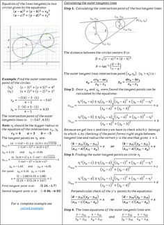 Tangent lines to two circles calculator