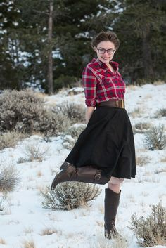 What I Wore:  Flannel among the Evergreen Trees    Flannel Shirt + Black Skirt