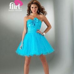 Short Turquoise Formal With Bow