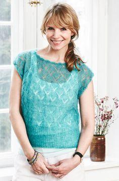 strikket bluse med hulmønster