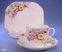 Heathcote Brompton Art Deco Floral Vintage Bone China Tea Cup, Saucer and Tea Plate Trio