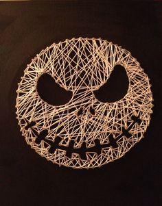 "Nightmare Before Christmas ""Jack"" String Art on Etsy, String Art Templates, String Art Patterns, Doily Patterns, Dress Patterns, Fall Halloween, Halloween Crafts, Christmas Crafts, Christmas Baubles, Jack Skellington"