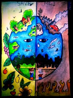 Artist of the Day Akshaya, Age 13.  This picture is called Save Mother Earth.  If it didn't win an Earth Day competition already we think it should.  kid art