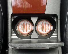 Personalized Monogrammed Car Coasters Orange Camo  Cup Holder