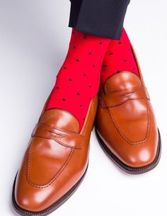 Dapper Classics Red with Navy Polka-Dot Sock