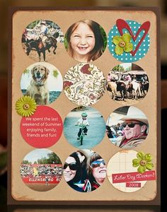 I am also a big fan of circles in scrapbook layouts. This was nicely done, a great mix of decoration and photos