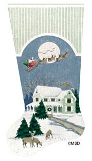 Melissa Shirley Designs   Hand Painted Needlepoint   The Night Before Christmas Stocking