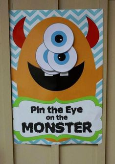 Pin the Eye on the Monster game - DIGITAL files only - Monster party - Party Game Monster Inc Party, Little Monster Birthday, Monster 1st Birthdays, Monster Birthday Parties, Birthday Fun, First Birthday Parties, Birthday Party Themes, Monster Party Games, Birthday Ideas