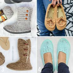 Free crochet shoe patterns using flip flops from Make and Do Crew. Use flip flops to crochet your own sandals, moccasins, boots, slippers and shoes!
