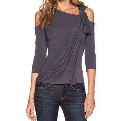 Stylish Skew Neck 3/4 Sleeve Asymmetrical Hollow Out Women's T-Shirt