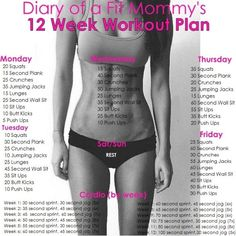 Diary of a Fit Mommy   12 Week Home Workout Plan. No gym or equipment needed! by Susan Stultz
