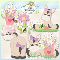 Daisy Donkey 1 - NE Trina Clark Clip Art : Digi Web Studio, Clip Art, Printable Crafts & Digital Scrapbooking!