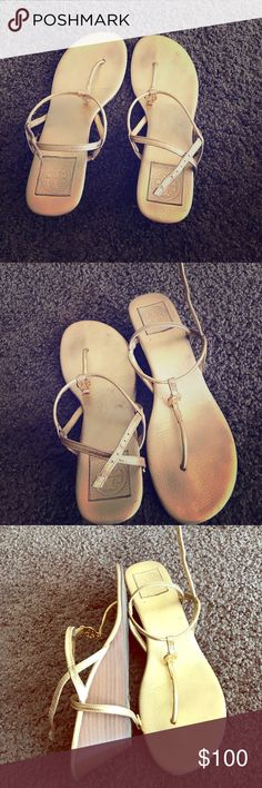 """Authentic Tory Burch gold metallic sandals Beautiful sandals in metallic gold ( Metallica are a hot trend this season 😁) Perfect for the summer. Size 10M, gently worn , they are too tight for me cos I'm a 10.5W. 2"""" wedge.. Grab this beauty and pamper your feet! 😁😍😘 Tory Burch Shoes Sandals"""
