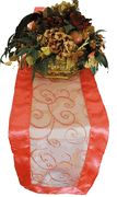 12x108 Embroidered organza table runner- Coral 90206(1pc/pk)