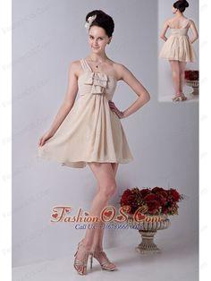 Champagne One Shoulder Mini-length Chiffon Ruch Bridesmaid Dress- $95.89 ✿