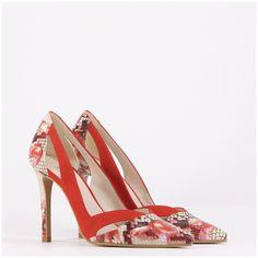 910f1619 Zapato de tacón estilo salón en piel en ante rojo Verola | LODI Zapatos De  Salón