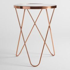 Rose Gold Tomlin Accent Table with Glass Top – - Modern Rose Gold Room Decor, Rose Gold Rooms, Gold Bedroom Decor, Gold Bedroom Accents, Rose Gold Bedroom Accessories, Gold Accent Decor, Bedroom Ideas, Glam Bedroom, Bedroom Photos