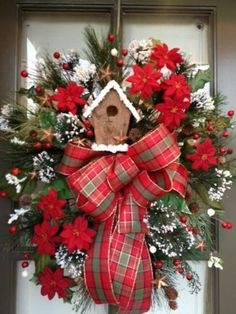 Christmas Winter Holiday, Bird House Red Floral arrangement Door Wreath/Swag by lori Wreath Crafts, Christmas Projects, Holiday Crafts, Wreath Ideas, Holiday Decor, Noel Christmas, All Things Christmas, Christmas Ornaments, Tartan Christmas