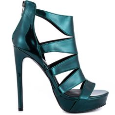 Feel the heat in the Spycee by Steve Madden. This hot sandal delivers a green metallic covered style with multiple straps and back zipper. A 5 inch stiletto heel and 1 inch platform will keep you looking hot all night long.